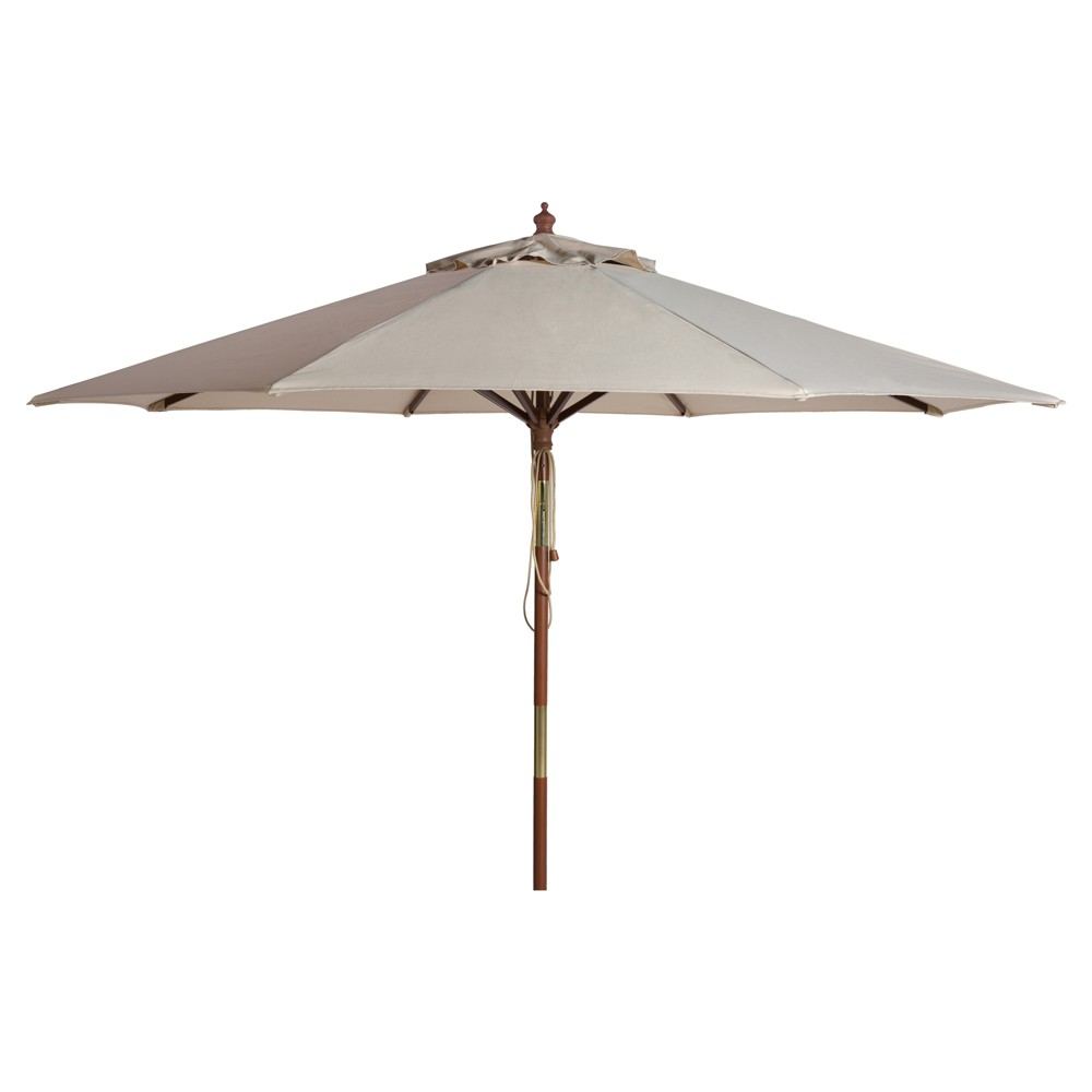 Cannes 9 39 Wooden Outdoor Umbrella Beige Safavieh