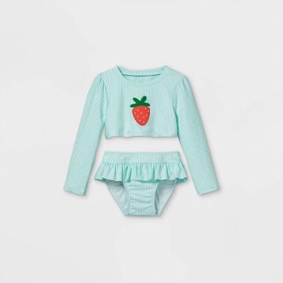 Toddler Girls' 2pc Seersucker Strawberry Long Sleeve Rash Guard Set - Cat & Jack™ Aqua