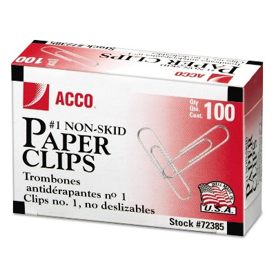 ACCO Nonskid Standard Paper Clips #1 Silver 100/Box 10 Boxes/Pack 72385
