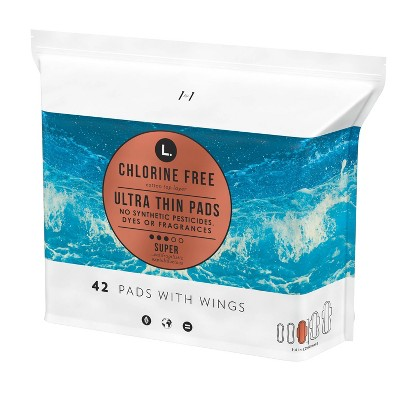 L. Chlorine Free Ultra Thin Super Absorbency Pads with Wings - 42ct