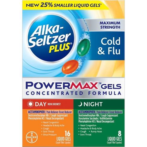 Alka-Seltzer Plus PowerMax Day/Night Cold & Flu Relief Liquid Gels - 24ct - image 1 of 4