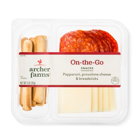 On-The-Go Pepperoni, Provolone Cheese & Breadsticks Meat And Cheese Platters - 3oz - Archer Farms™ - image 1 of 1