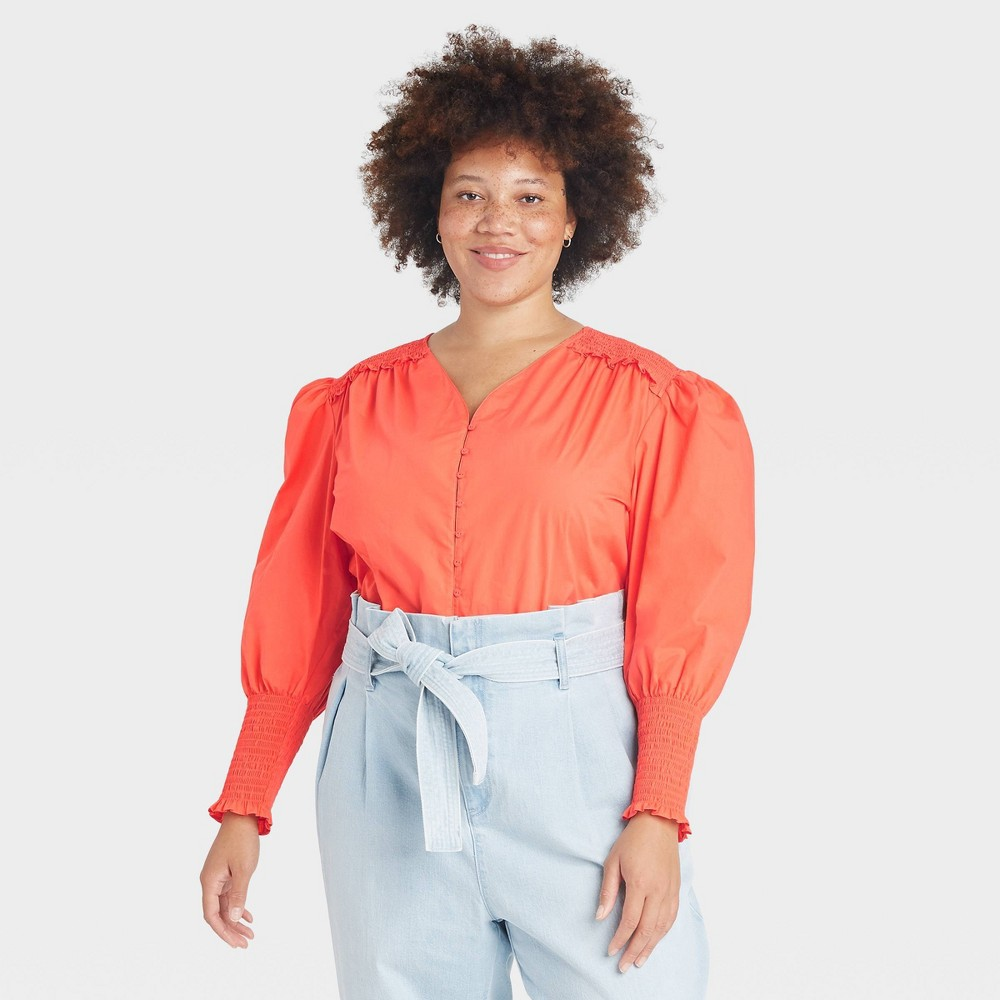 Women 39 S Plus Size Long Sleeve Smocked Poplin Top A New Day 8482 Coral 4x