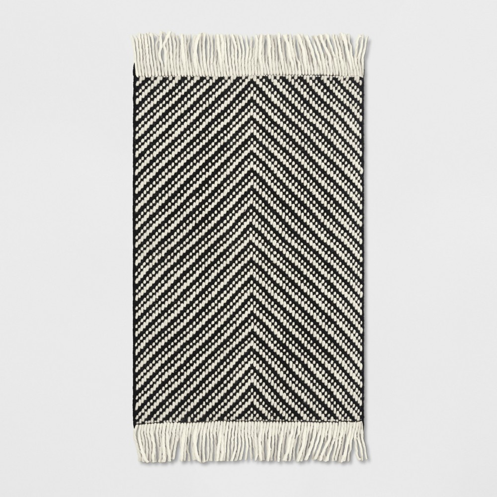2'X3' Geometric Woven Accent Rugs Black/White - Project 62