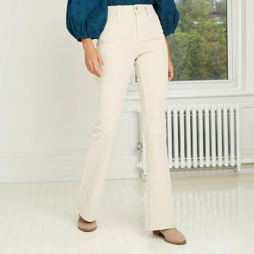 Vintage Pants   High Waisted, Jeans, Sailor Pants Womens High-Rise Flare Corduroy Pants - Universal Thread Light Gray 18 $29.99 AT vintagedancer.com