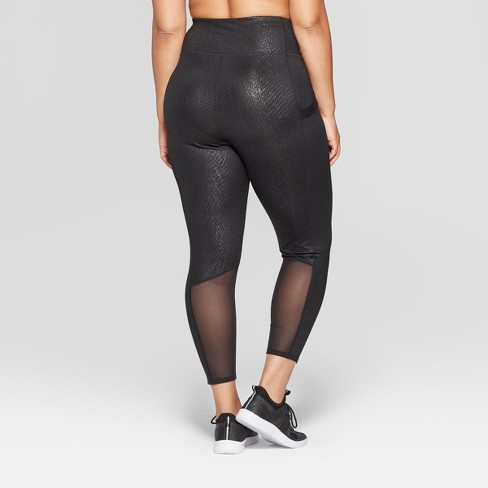 99809a7dd Women s Plus Size High-Waisted Printed 7 8 Leggings - JoyLab™ Black 3X    Target