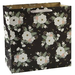 Square Floral Gift Bag Black - Spritz™