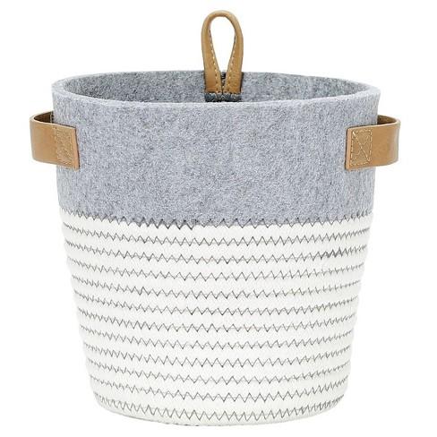 Small Round Fabric Toy Storage Bin Gray & White - Pillowfort™ - image 1 of 2