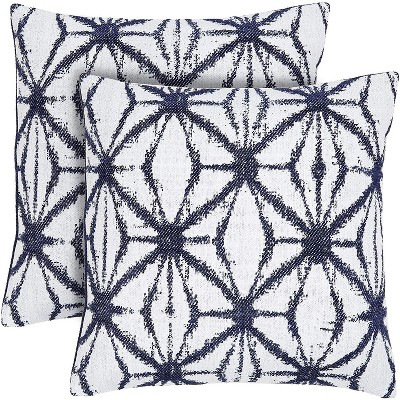 2-Pack Canvas Pattern Decorative Throw Pillow Case Cushion Covers 17x17 inch Pillowcase, Blue