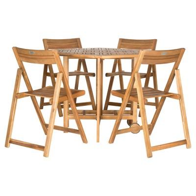 Kerman 5pc Patio Dining Table Set - Teak - Safavieh