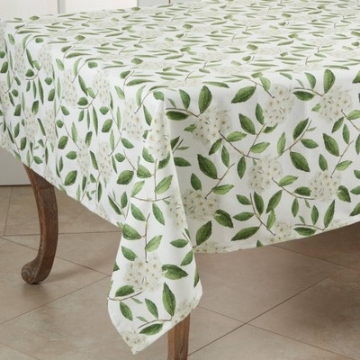 """55"""" Polyester Floral Tablecloth Green - Saro Lifestyle"""
