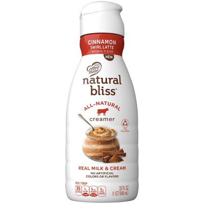 Coffee mate Natural Bliss Cinnamon Swirl Latte Coffee Creamer - 1qt