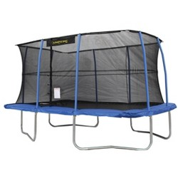 JumpKing 10 x 14 Foot Rectangular Trampoline with Safety Net Enclosure, Blue