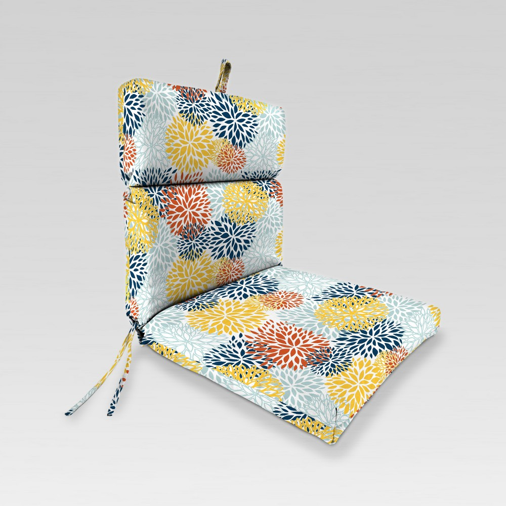 Outdoor French Edge Dining Chair Cushion - Blue/Yellow Burst - Jordan Manufacturing