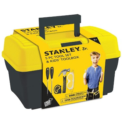 Red Tool Box Stanley Jr. 5 Piece Tool Set & Toolbox | Real Tools for Kids