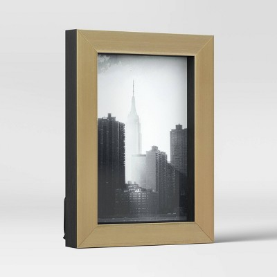 "4"" x 6"" Modern Block PS Picture Frame Black/Brass - Project 62™"