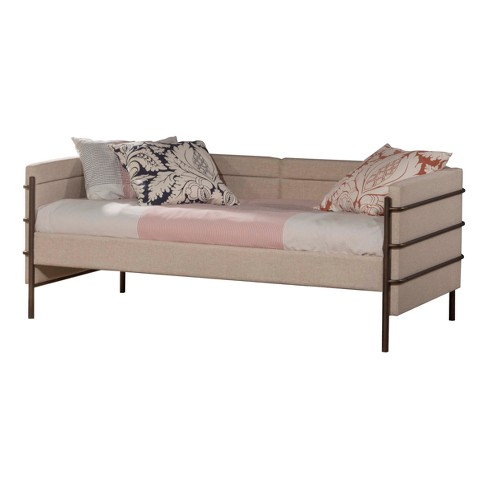 Comfy Upholstered Daybed Twin - Natural Linen/Brown - Hillsdale Furniture - image 1 of 2