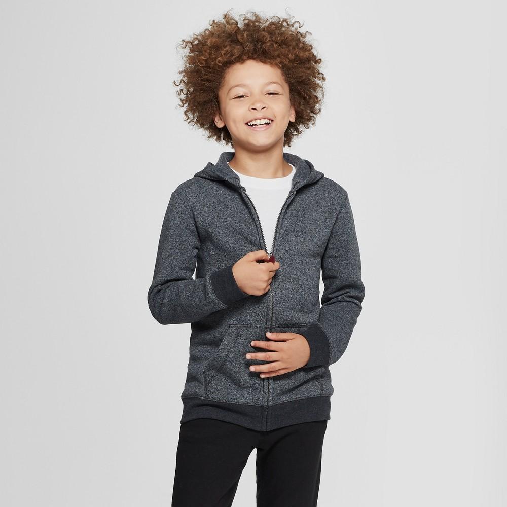 Boys' Solid Fleece Hooded Long Sleeve Sweatshirt - Cat & Jack Gray L