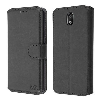 MYBAT MyJacket Element Series Book-Style Leather Case For LG Arena 2/Escape Plus/K30 (2019)/Tribute Royal, Black
