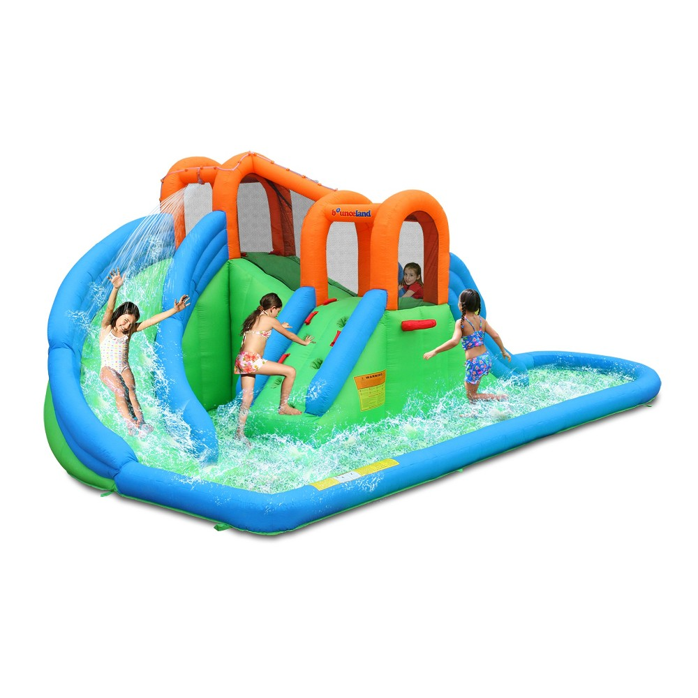 Bounceland Island Water Slide with Basketball Hoop and Pool, Multi-Colored