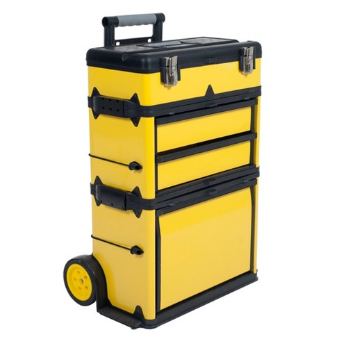 Stackable Toolbox Rolling Mobile Organizer with Telescopic Comfort Grip Handle Clear - Stalwart - image 1 of 8