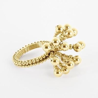 Gold Beaded Flower Burst Napkin Ring Set of 4 - Saro Lifestyle