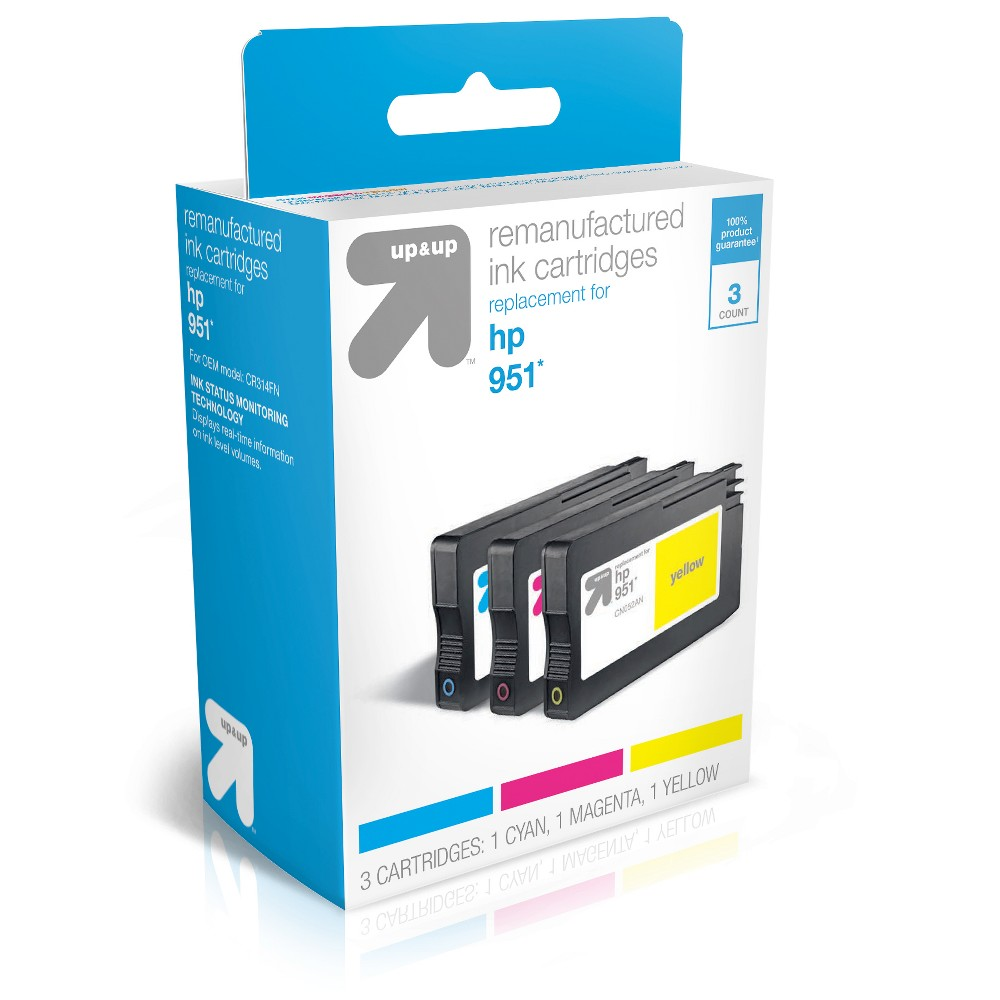 HP 951 Replacement 3pk Ink Cartridges - Cyan/Magenta/Yellow (TAR951CMY) - Up&Up, Blue/Pink/Yellow (951)