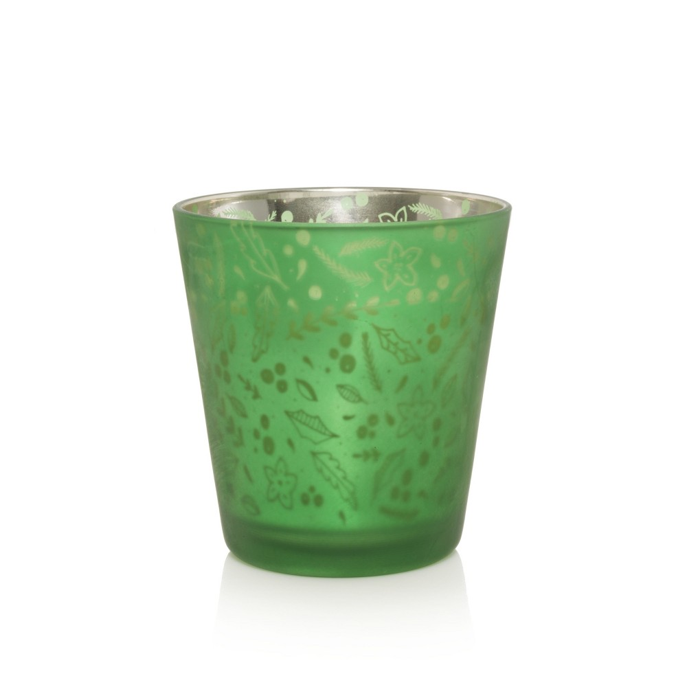 12oz Glass Flicker Candle Holiday Wreath - Nature's Wick, Green
