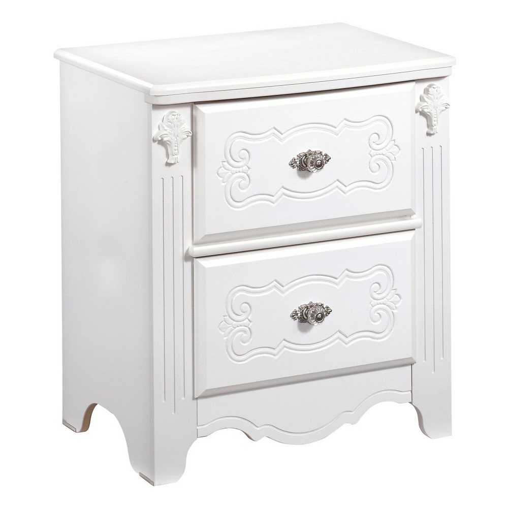 Exquisite Two Drawer Nightstand White - Signature Design by Ashley