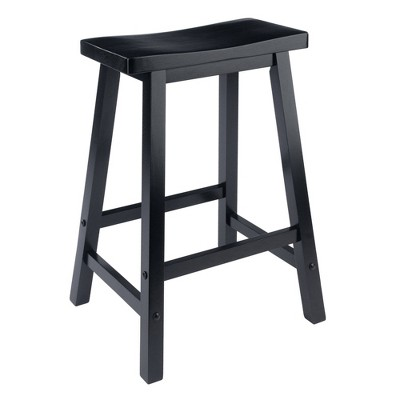 "24"" Satori Saddle Seat Counter Height Barstool Black - Winsome"