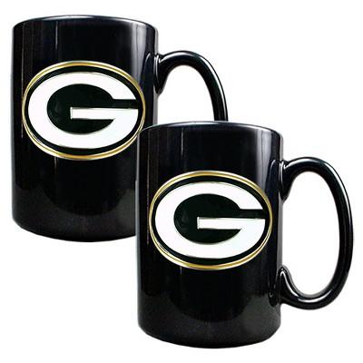 NFL Green Bay Packers 2pk 15oz Black Coffee Mug Set