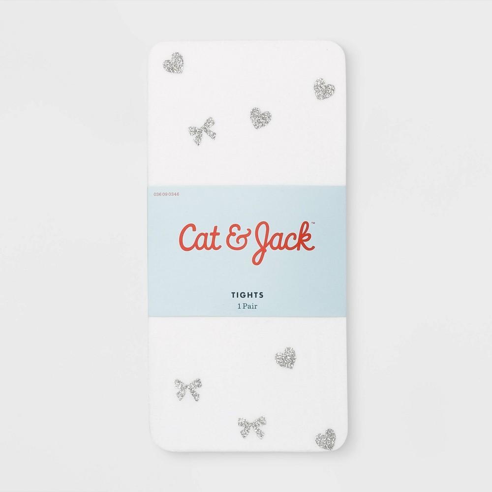 Girls' Bow & Heart Glitter Tights - Cat & Jack White M