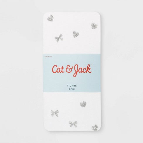Girls' Bow & Heart Glitter Tights - Cat & Jack™ White - image 1 of 2