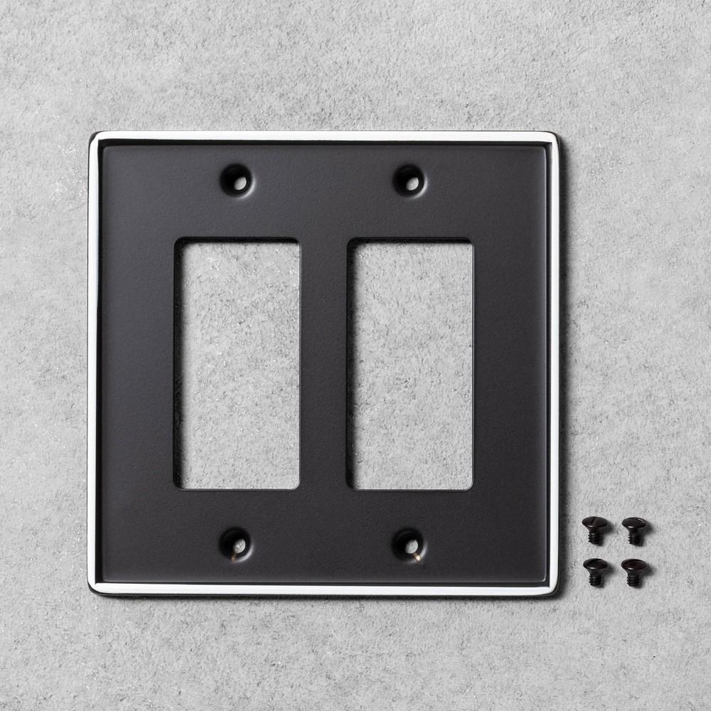 Image of 2pk Double Toggle Switch Plate Black Metal - Hearth & Hand with Magnolia
