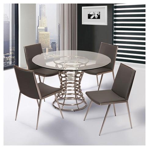 Ibiza Brushed Stainless Steel Dining Chair Gray Polyurethane Set Of 2 Armen Living Target