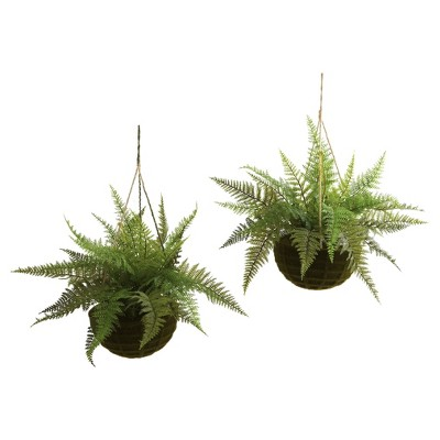 Artificial Leather Fern With Mossy Hanging Basket Indoor / Outdoor Set Of 2 - Nearly Natural