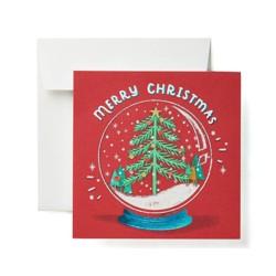 """Merry Christmas"" Tree With Snow Globe Card"