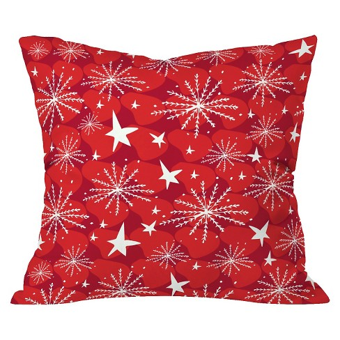 """20""""x20"""" Snow And Stars Throw Pillow Baked Red - Deny Designs - image 1 of 2"""