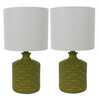"17"" (Set of 2) Della Ceramic Led Table Lamps Green (Includes LED Light Bulb) - Decor Therapy"