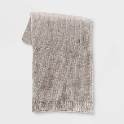 "50""x60"" Shiny Chenille Throw Blanket Neutral - Project 62™"