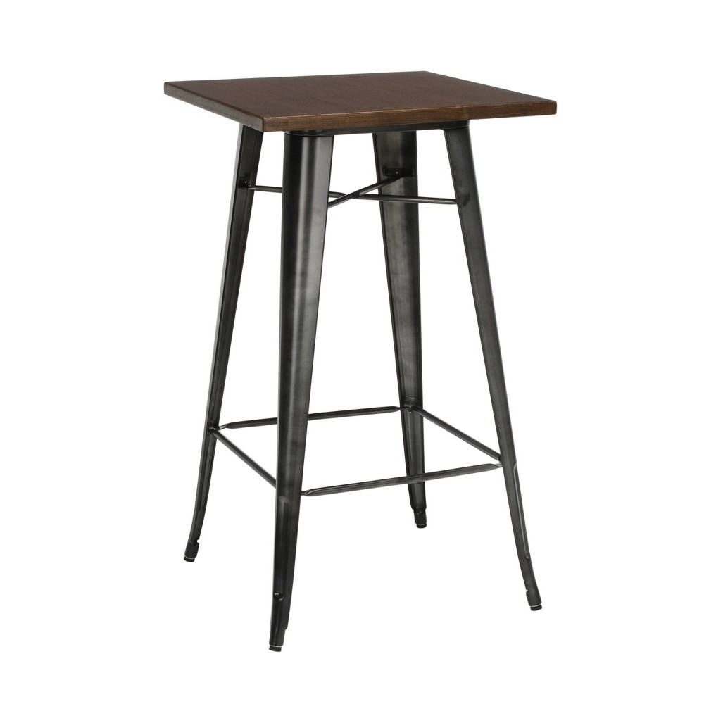"Image of ""24"""" Modern Square Bar Table with Galvanized Steel Body and Footring Gunmetal/Walnut - OFM, Grey/Brown"""