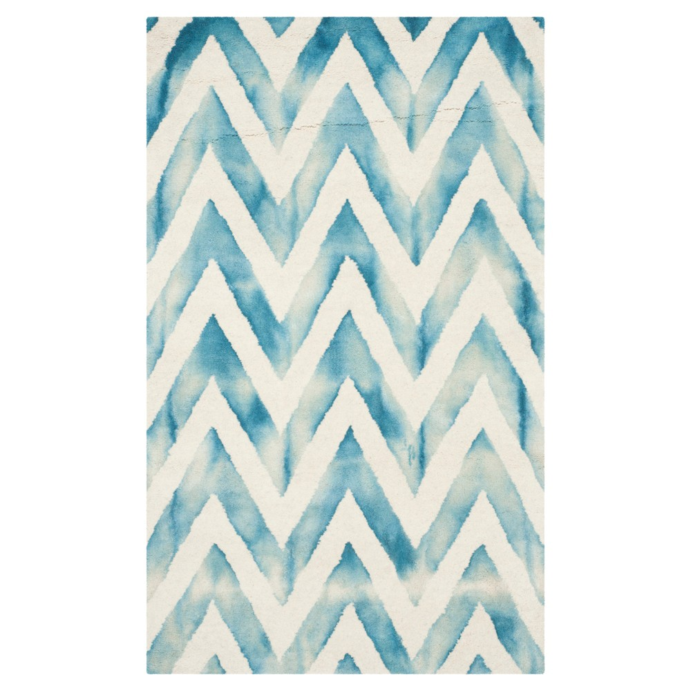 3'X5' Dip Dye Design Accent Rug Ivory/Turquoise - Safavieh