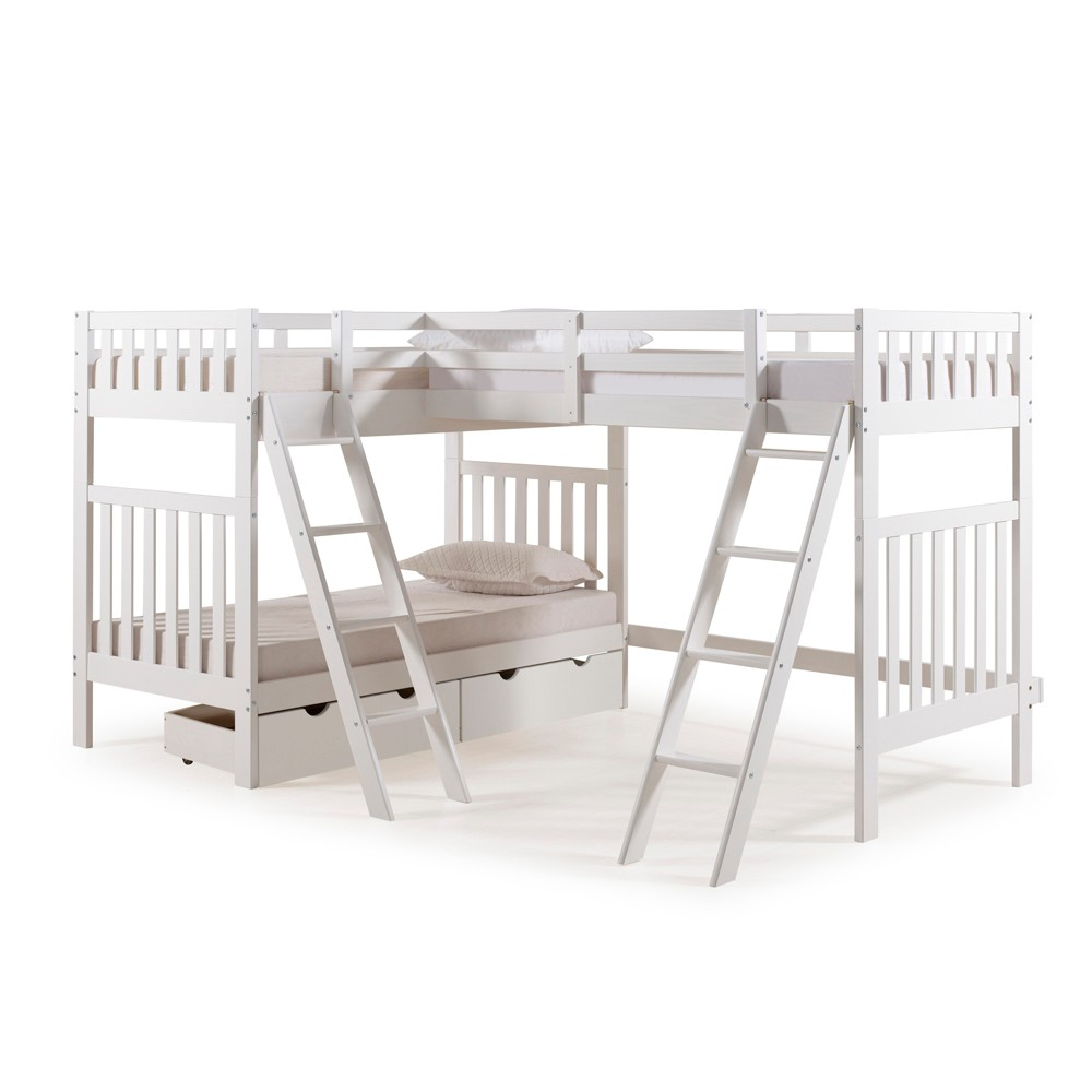 Twin Over Twin Aurora Quad Bunk Bed And Storage Drawers White - Alaterre Furniture