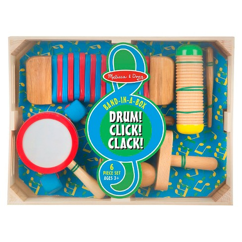 Melissa & Doug® Band-in-a-Box Drum! Click! Clack! - 6-Piece Musical Instrument Set - image 1 of 5