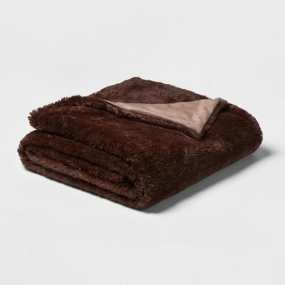50 x80  Faux Fur Throw Blanket Brown - Threshold™
