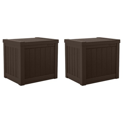 Suncast 17 x 22 Inch Resin 22-Gallon Patio Storage Deck Box, Java Brown (2 Pack)
