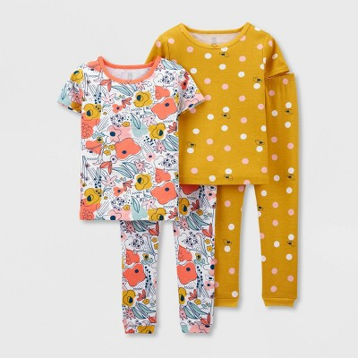 Toddler Girls' 4pc Floral/Bee Pajama Set - Just One You® made by carter's Blue/Pink/Yellow