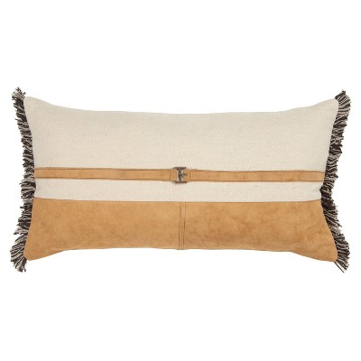 """14""""x26"""" Oversized Color Blocked Polyester Filled Lumbar Throw Pillow Tan - Rizzy Home"""