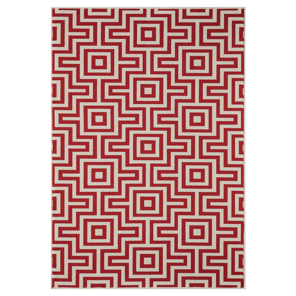 4'X6' Geometric Woven Accent Rug Red - Momeni