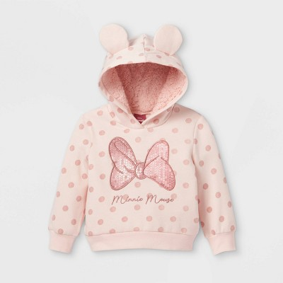Toddler Girls' Minnie Mouse Cosplay Sequined Fleece Sweatshirt - Pink